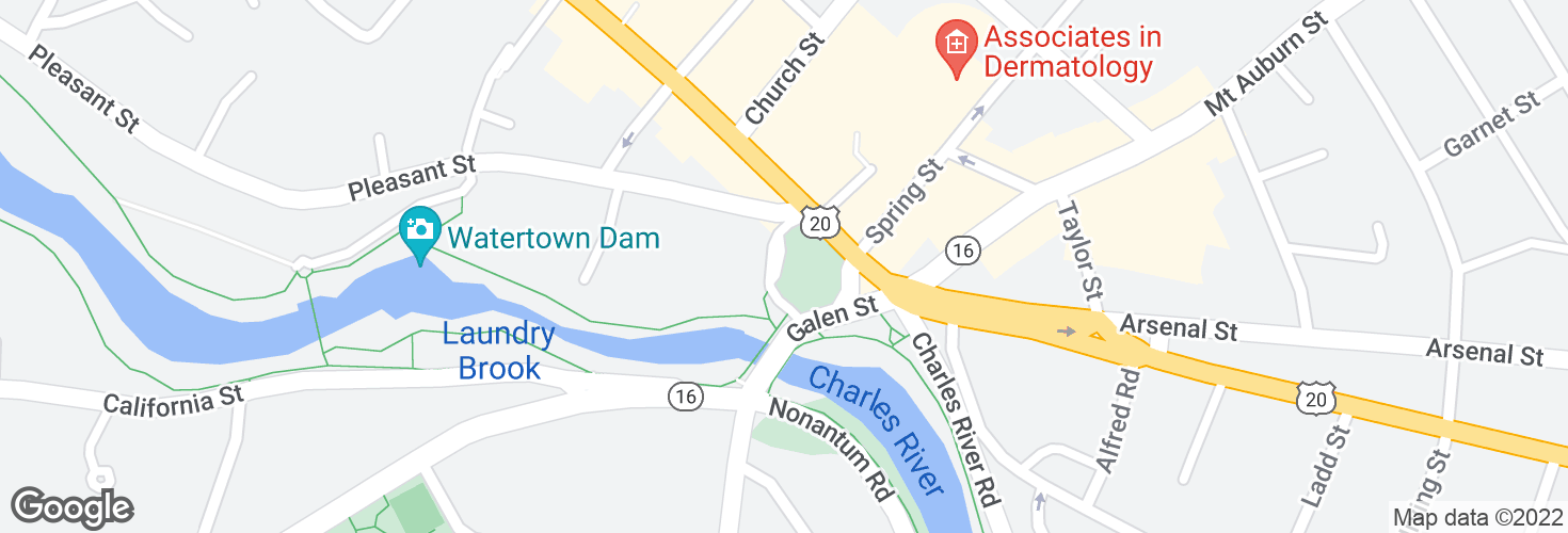 Map of Watertown Sq Terminal and surrounding area