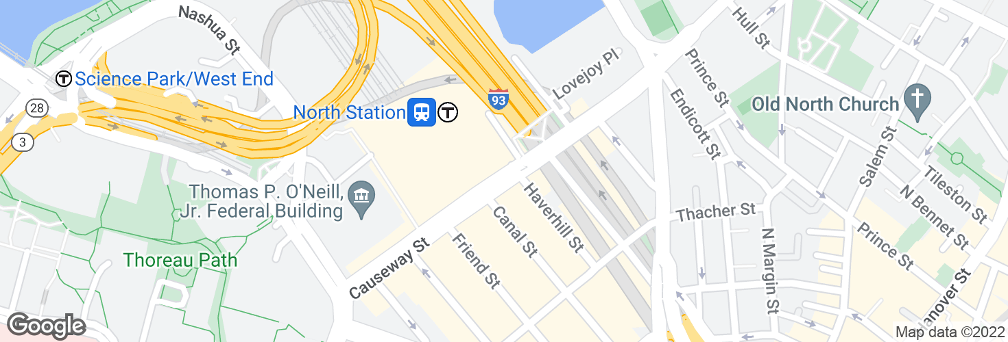 Map of Causeway St @ North Station and surrounding area