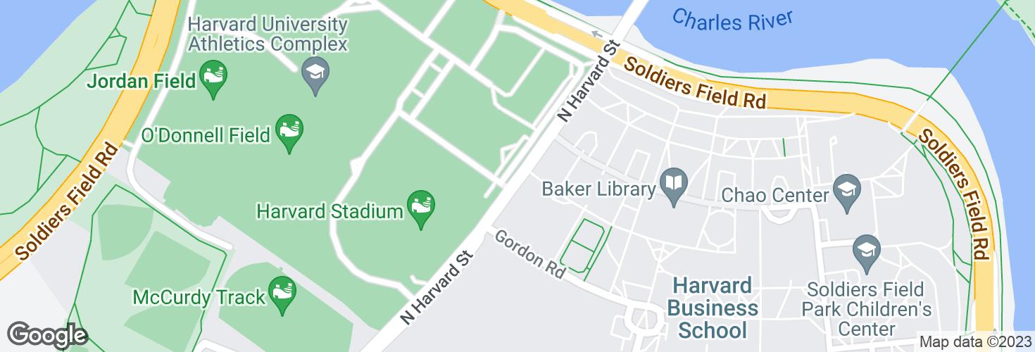 Map of N Harvard St @ Gate 2 Harvard Stadium and surrounding area