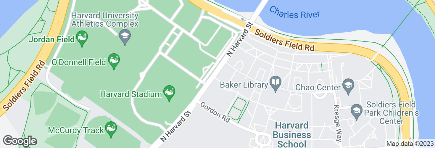 Map of N Harvard St opp Harvard Stadium Gate 2 and surrounding area