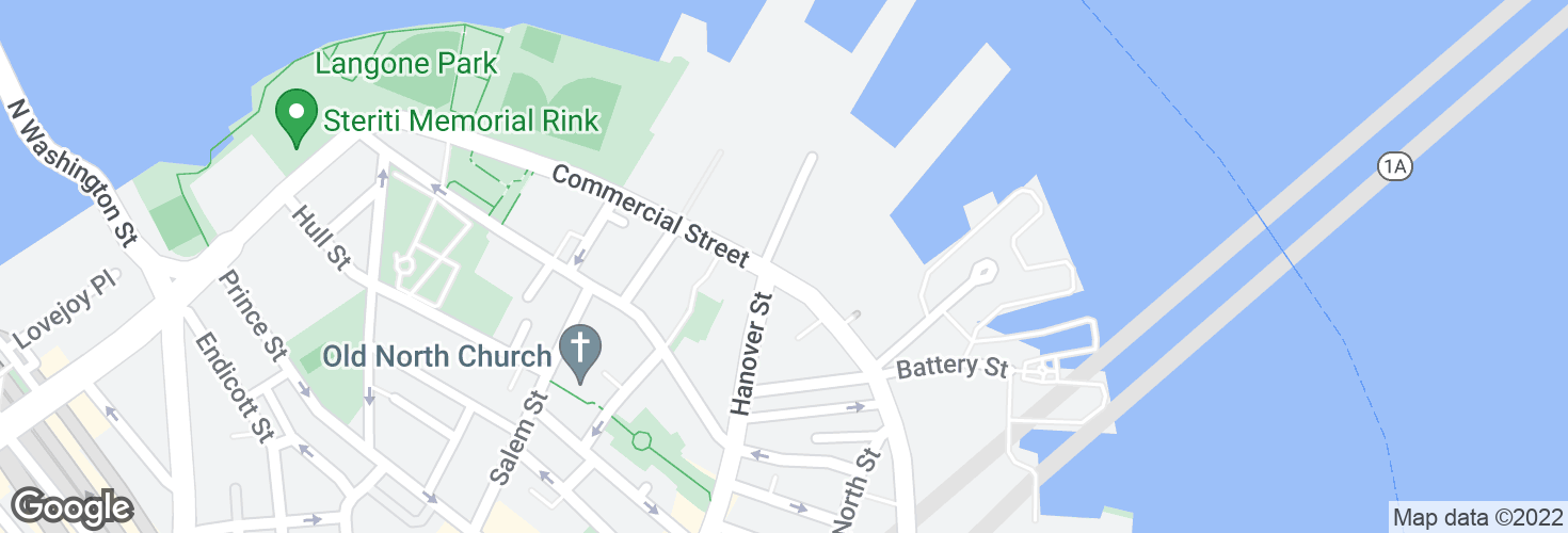 Map of Commercial St @ Hanover St and surrounding area