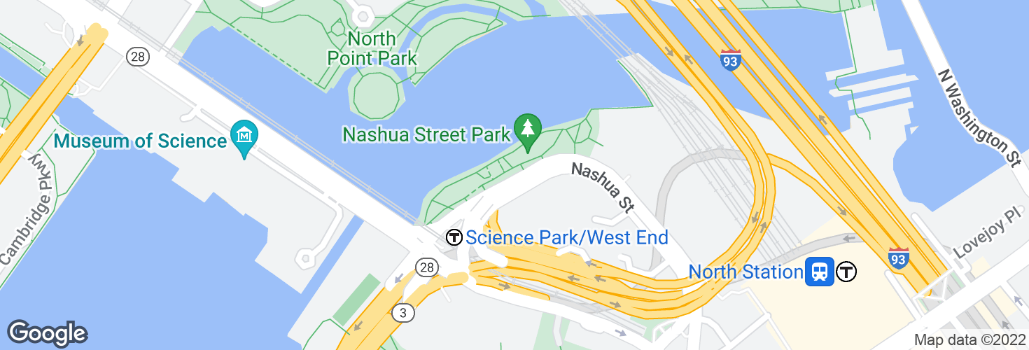 Map of Nashua St @ Science Park and surrounding area