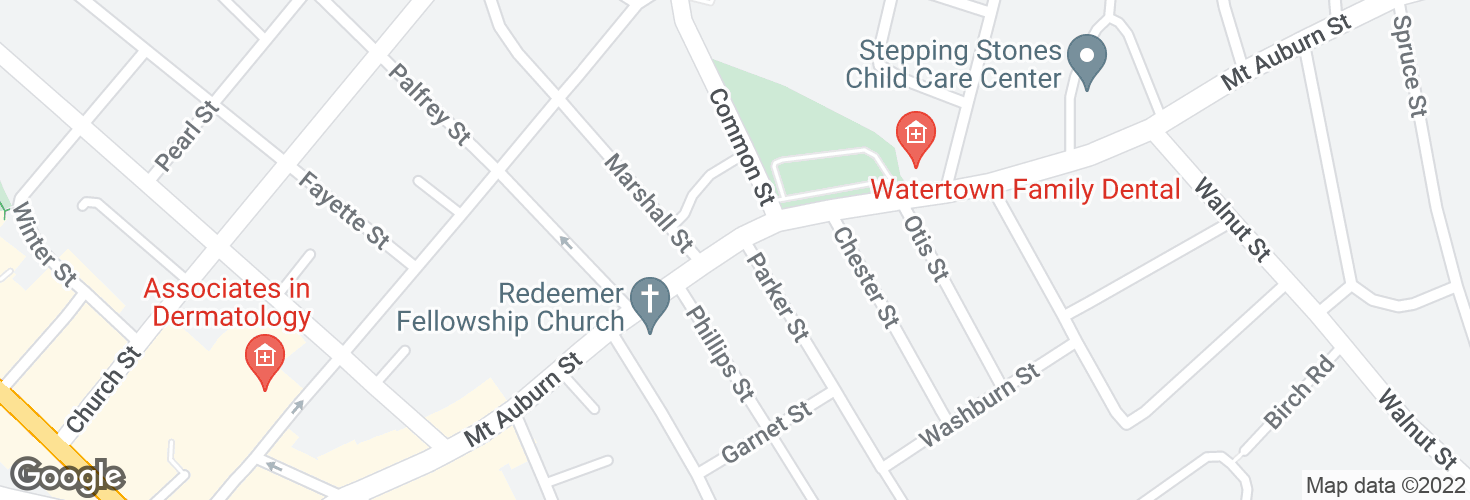 Map of Mt Auburn St @ Parker St and surrounding area