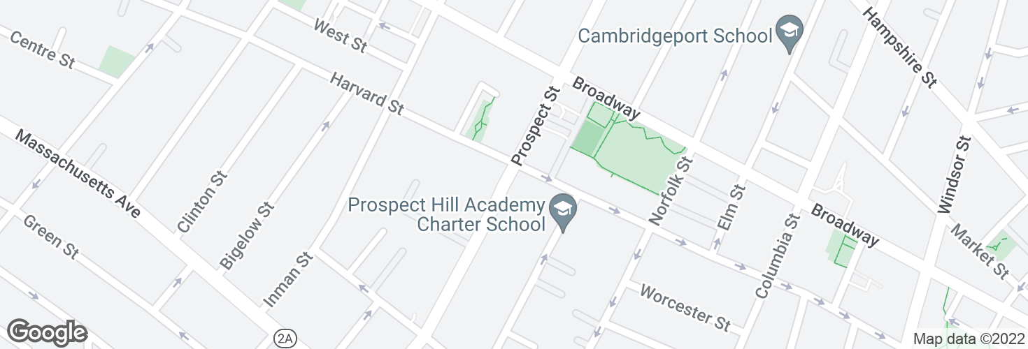 Map of Prospect St @ Harvard St and surrounding area