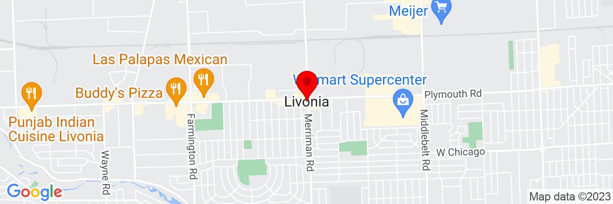 Google Map of 42.36837,-83.352709722222