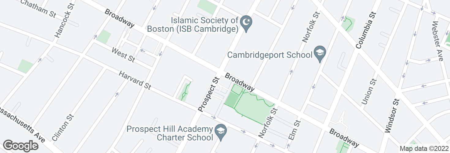 Map of Broadway @ Prospect St and surrounding area