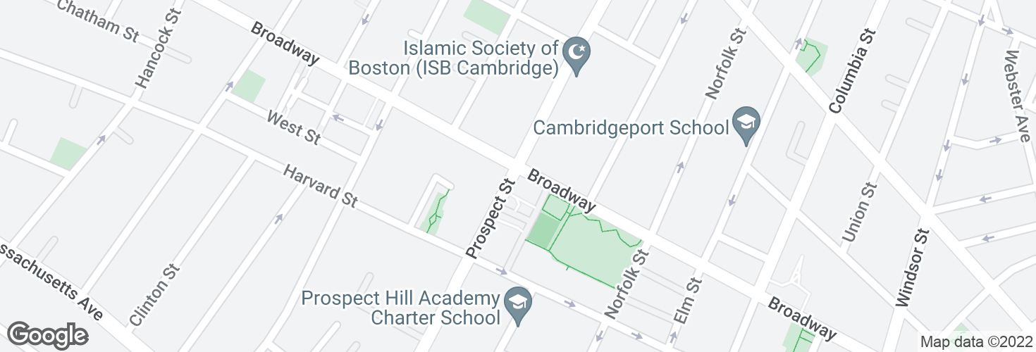 Map of Prospect St @ Broadway and surrounding area