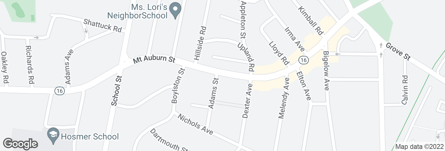 Map of Mt Auburn St @ Adams St and surrounding area