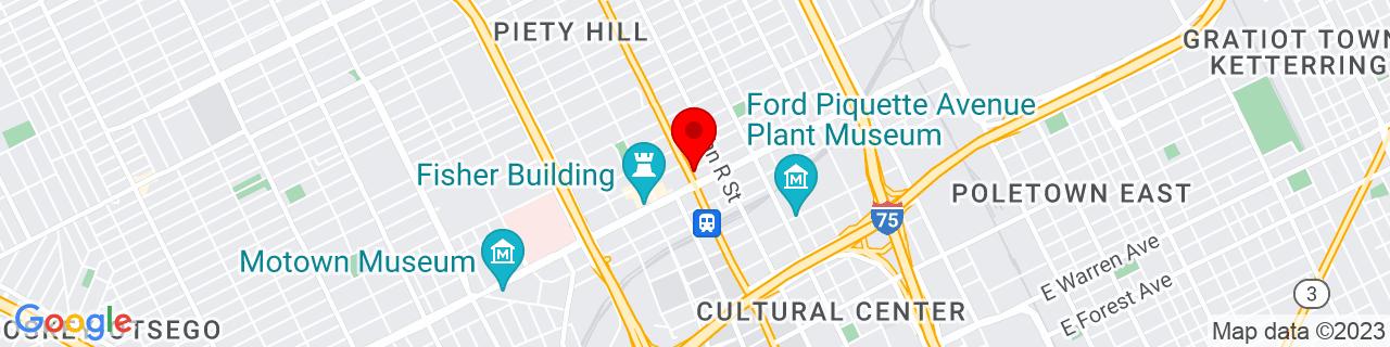 Google Map of 42.3710116, -83.07337369999999