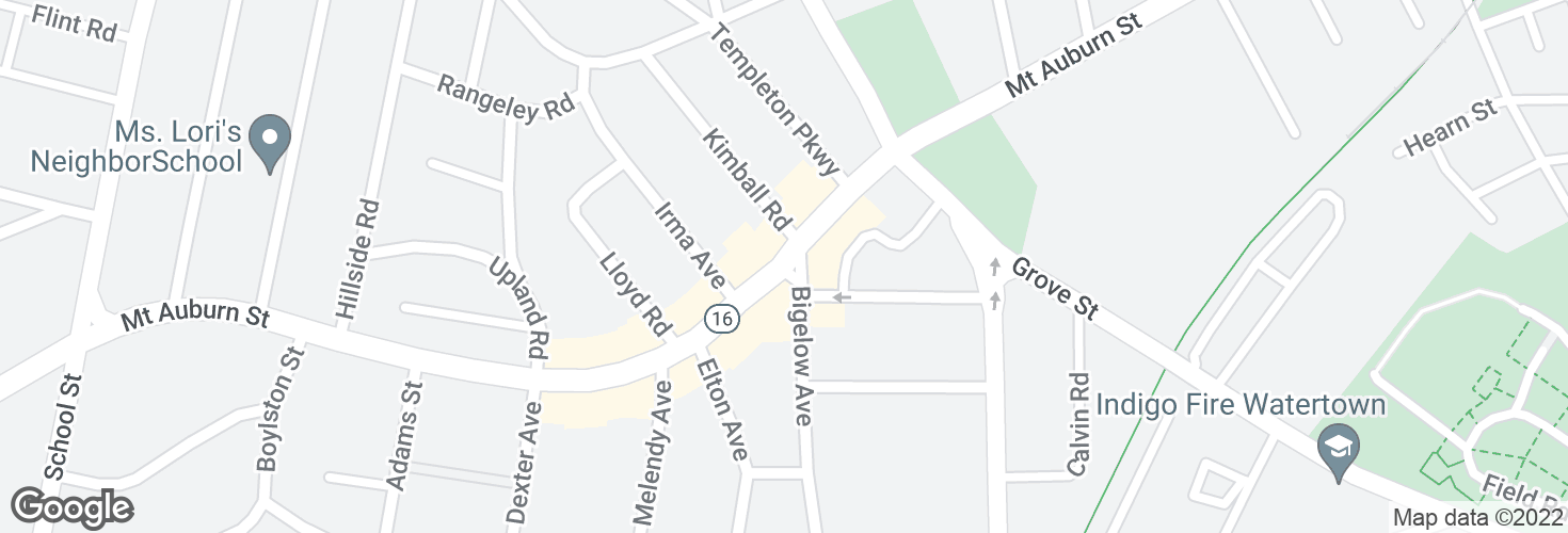 Map of Mt Auburn St @ Bigelow Ave and surrounding area