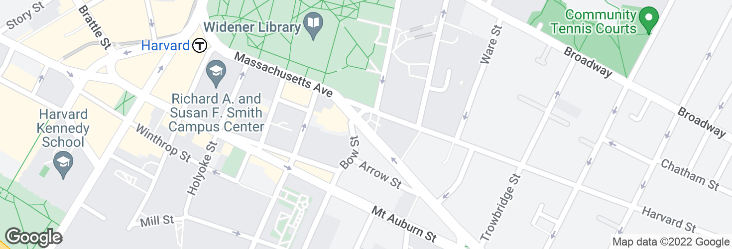 Map of Massachusetts Ave @ Bow St and surrounding area