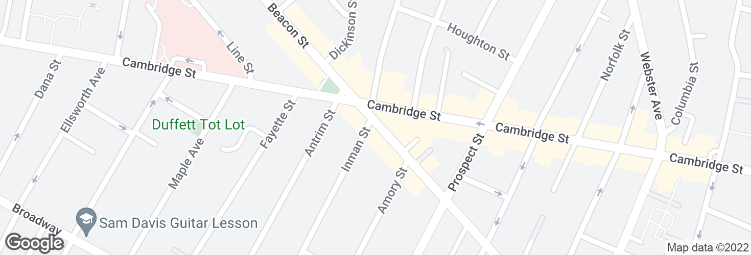 Map of Hampshire St @ Inman St and surrounding area