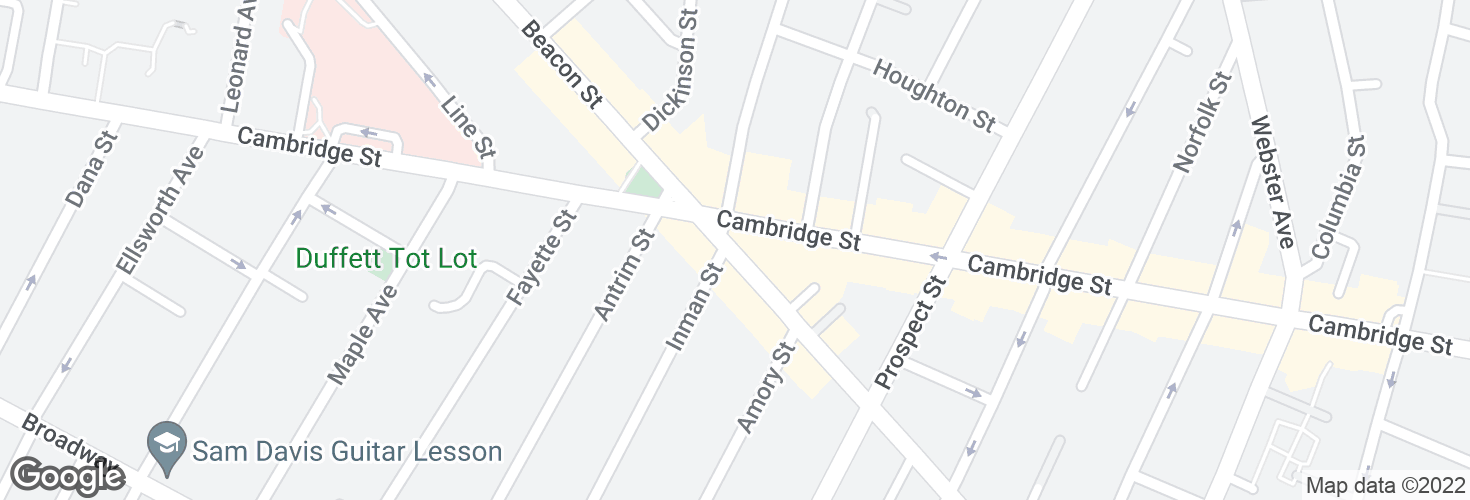 Map of Hampshire St @ Cambridge St and surrounding area