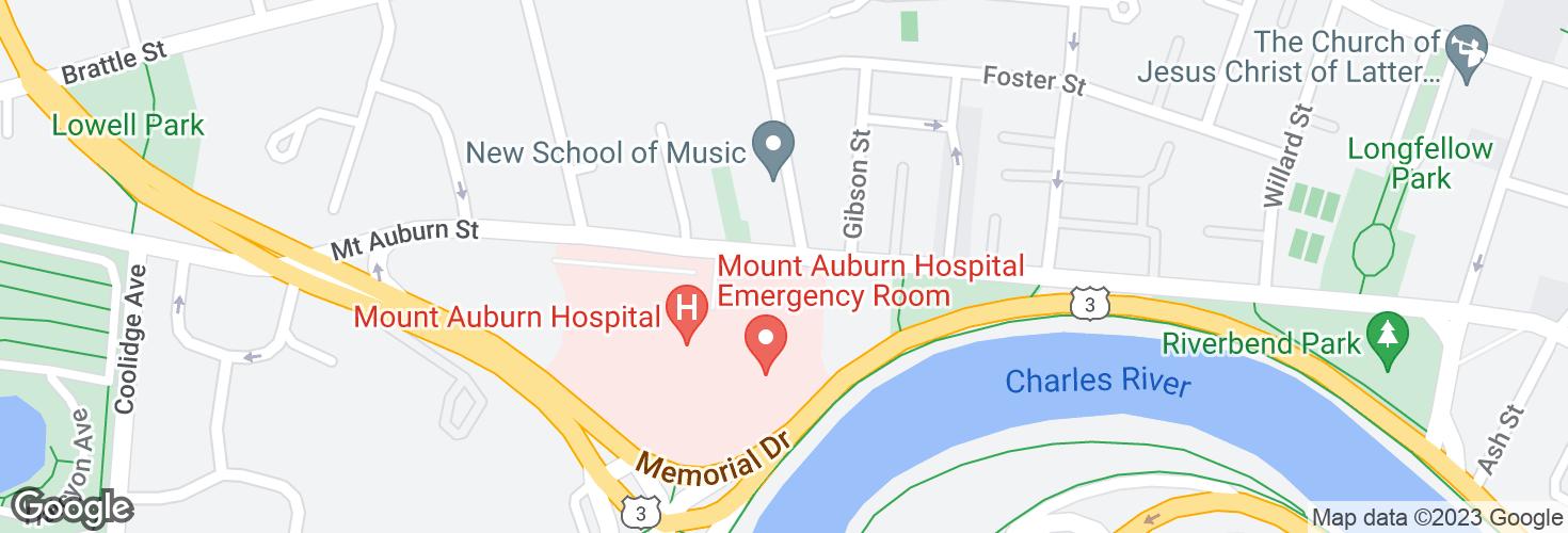 Map of Mt Auburn St @ Mt Auburn Hospital and surrounding area