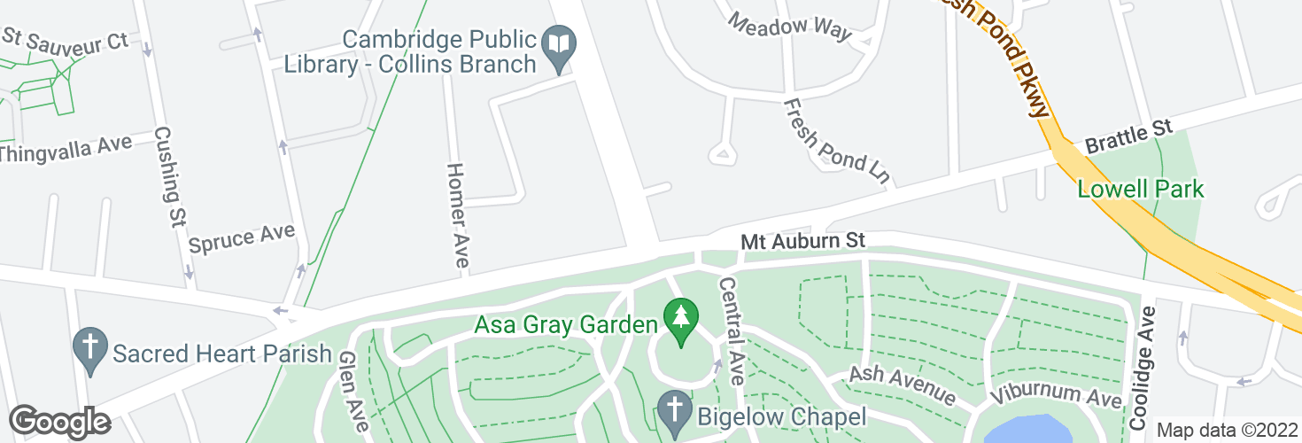 Map of Aberdeen Ave @ Mt Auburn St and surrounding area
