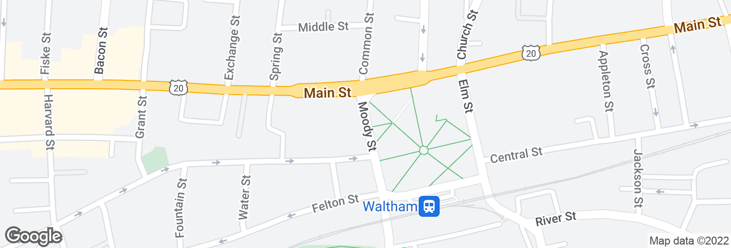 Map of Moody St @ Main St and surrounding area