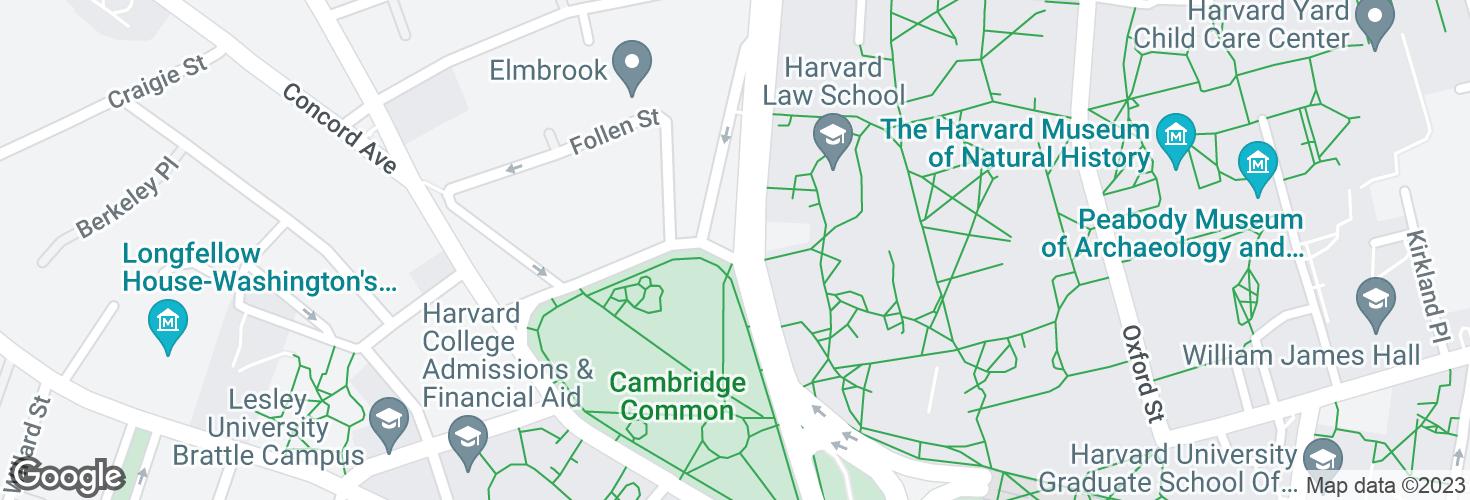 Map of Massachusetts Ave @ Waterhouse St and surrounding area