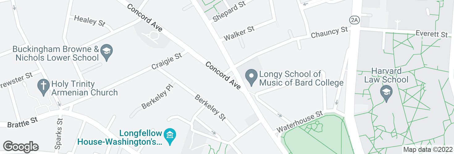 Map of Concord Ave @ Chauncy St and surrounding area