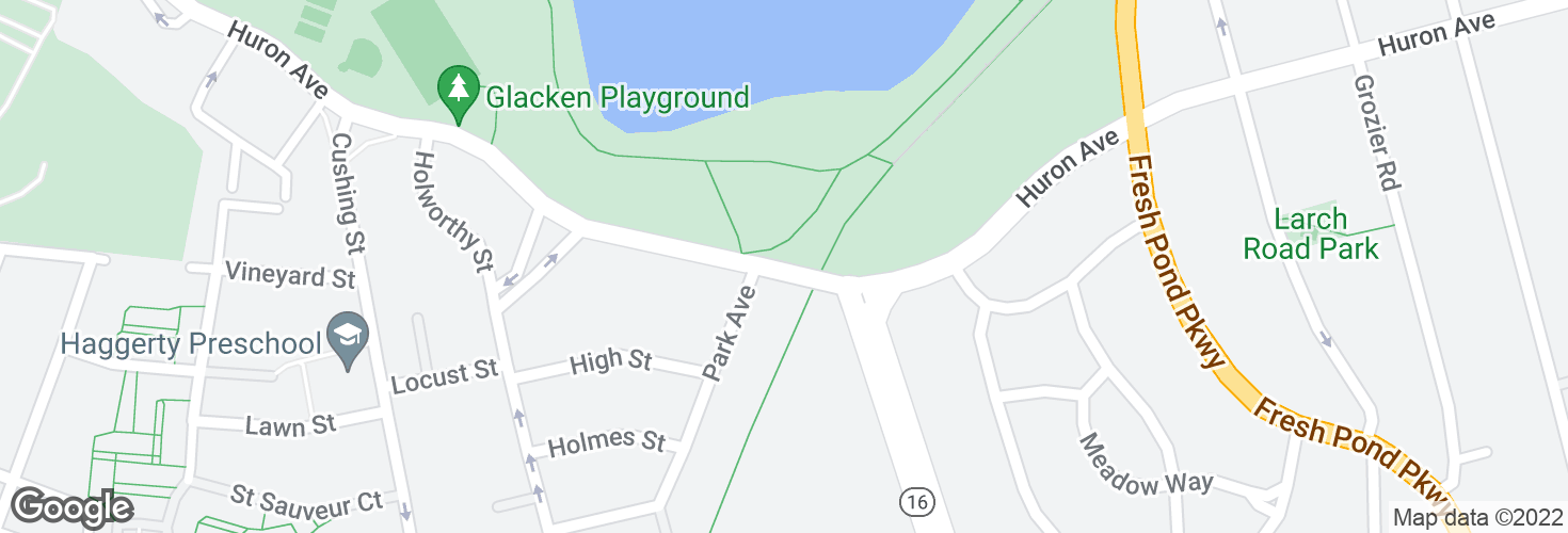 Map of Huron Ave opp Park Ave and surrounding area