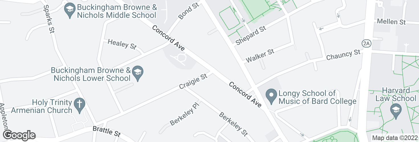 Map of Concord Ave @ Craigie St and surrounding area