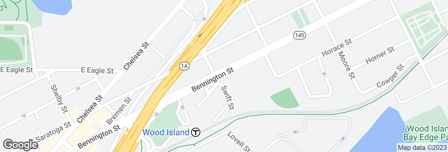 Map of Bennington St @ Swift St and surrounding area