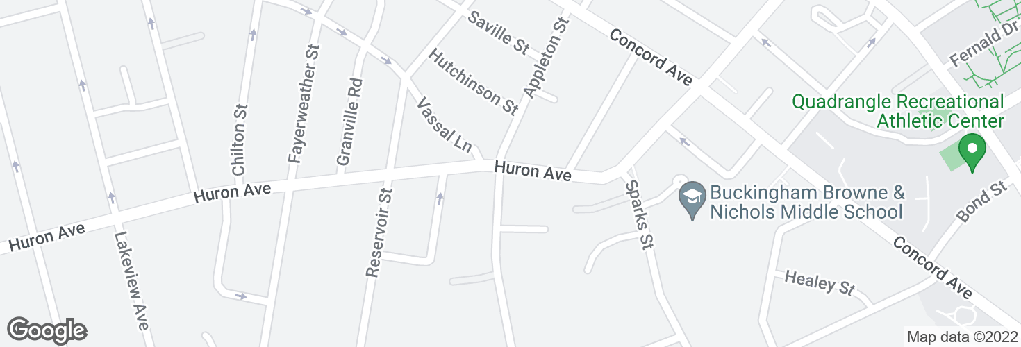 Map of Huron Ave @ Appleton St and surrounding area