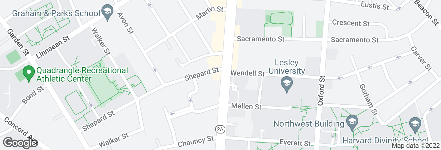 Map of Massachusetts Ave @ Shepard St and surrounding area