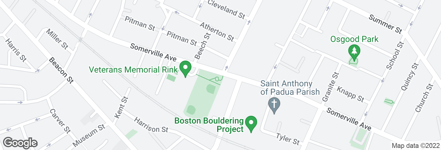 Map of Somerville Ave opp Central St and surrounding area