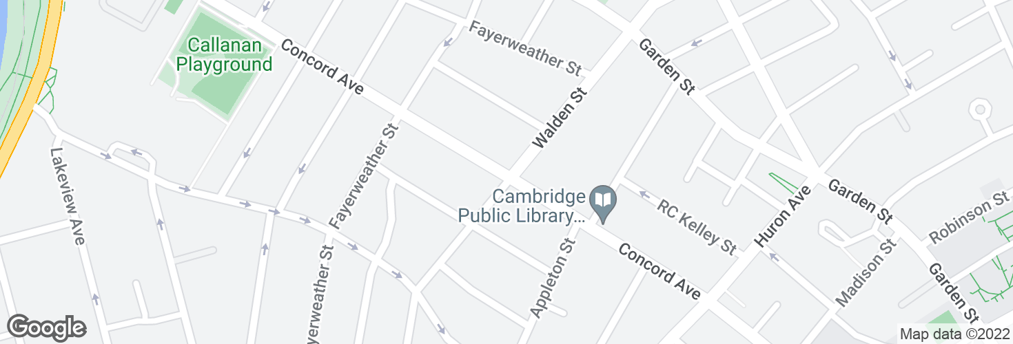 Map of Concord Ave @ Walden St and surrounding area