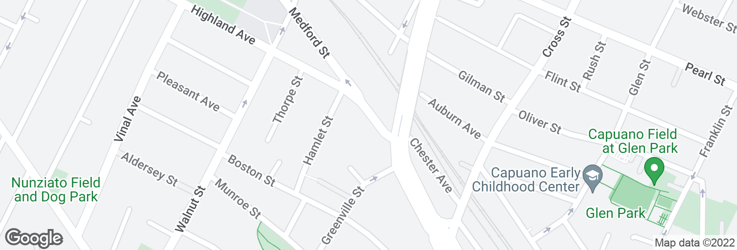 Map of Medford St @ Highland Ave and surrounding area
