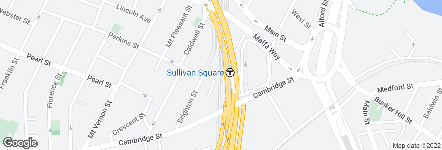 Map of Sullivan Square and surrounding area