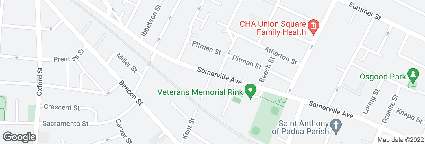 Map of Somerville Ave @ Spring St and surrounding area