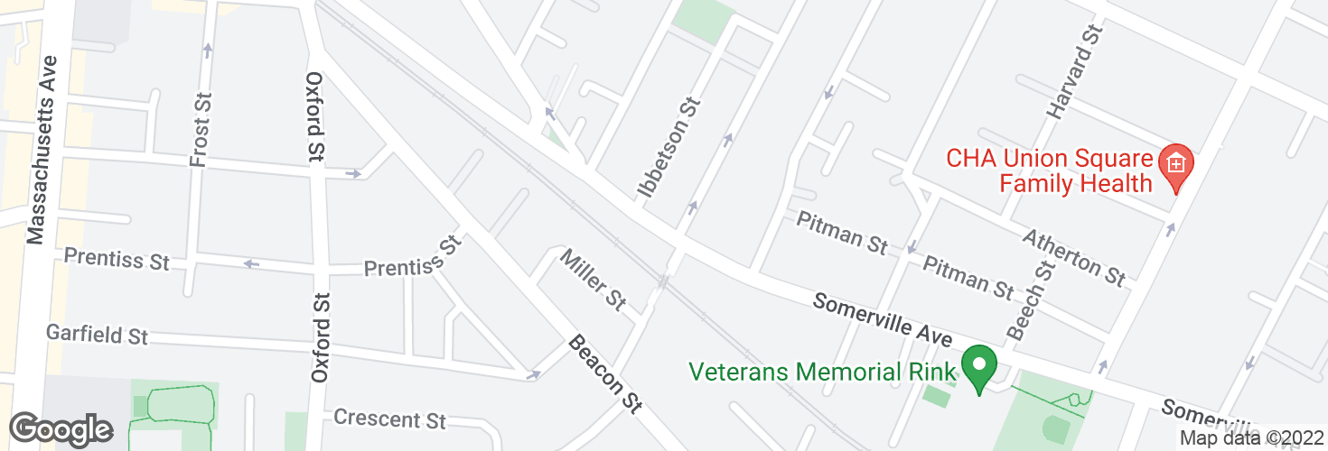 Map of Somerville Ave @ Lowell St and surrounding area