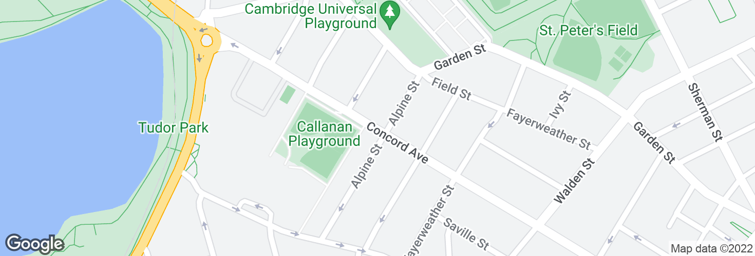 Map of Concord Ave @ Alpine St and surrounding area