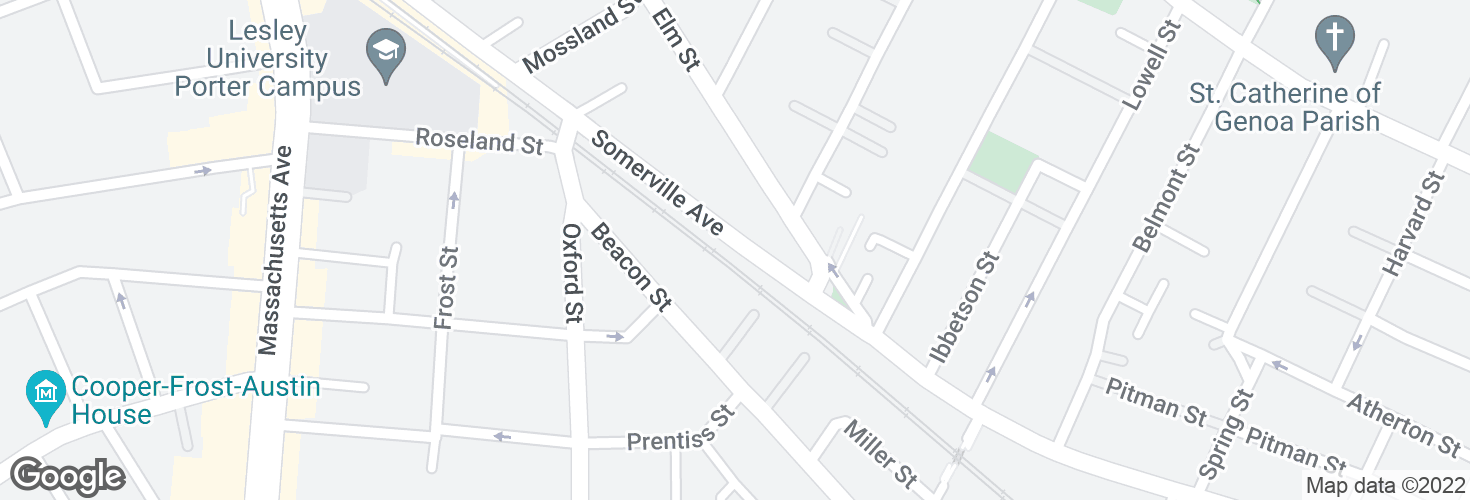 Map of Somerville Ave opp Elm St and surrounding area