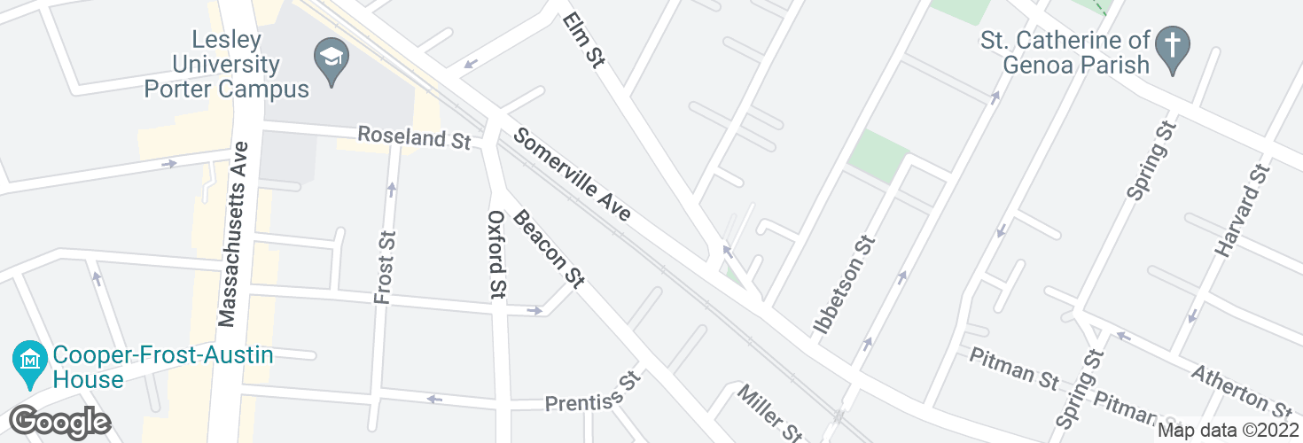 Map of Somerville Ave @ Elm St and surrounding area