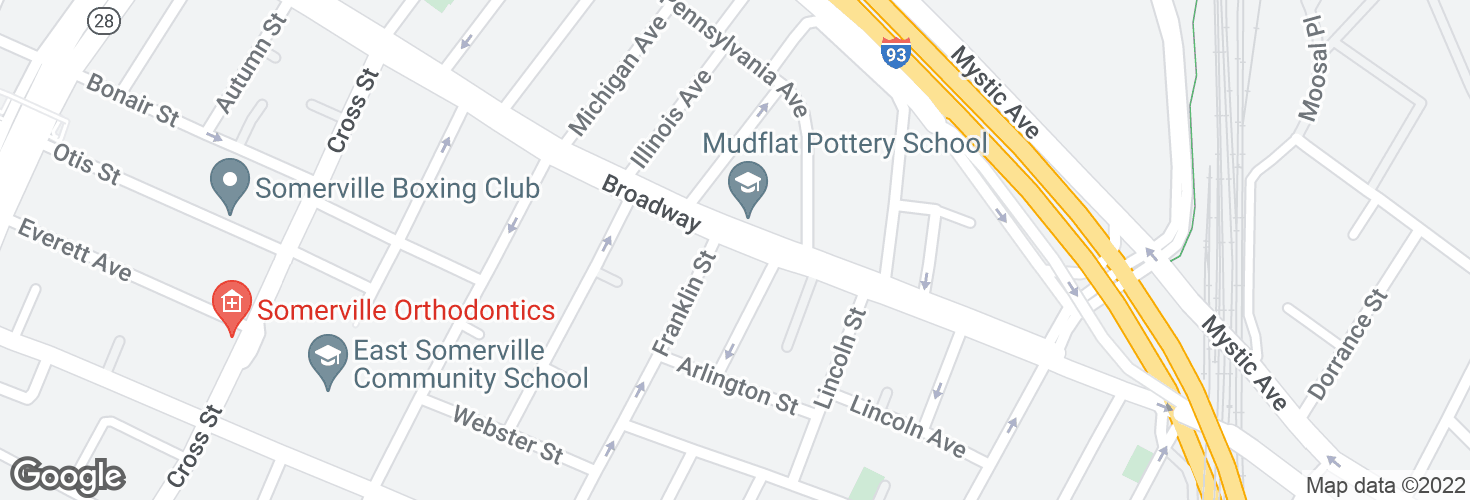Map of Broadway @ Franklin St and surrounding area