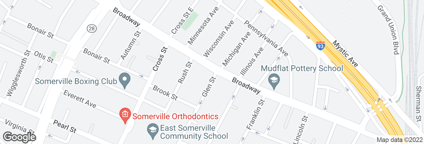 Map of Broadway @ Glen St and surrounding area