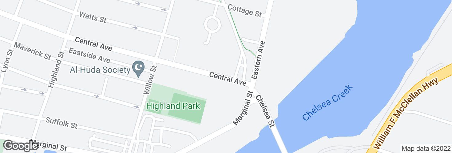 Map of Central Ave @ Chelsea Garage and surrounding area
