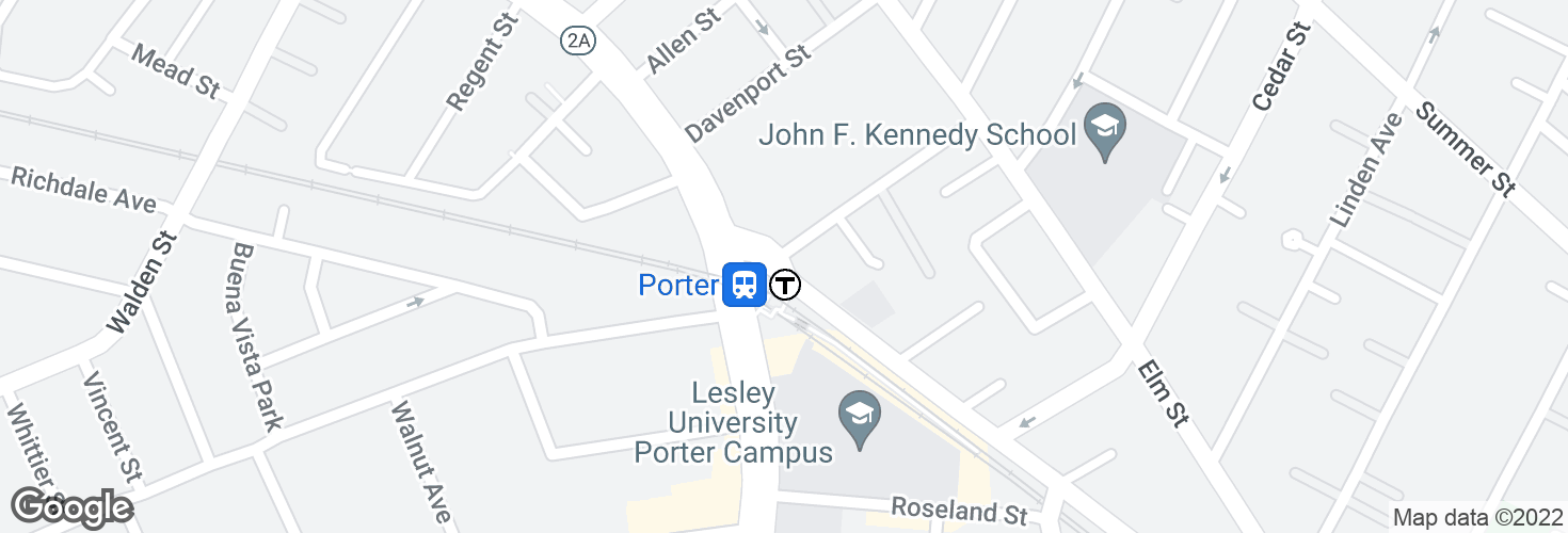 Map of Somerville Ave @ White St (Porter Sq) and surrounding area