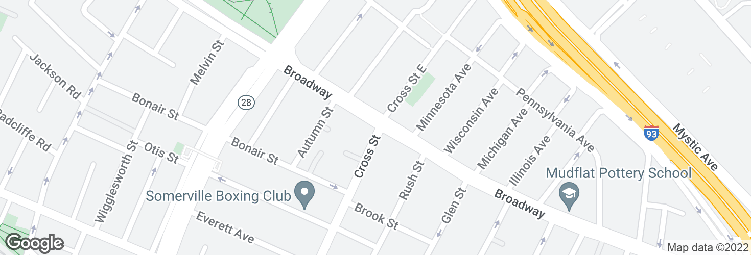 Map of Broadway @ Cross St and surrounding area