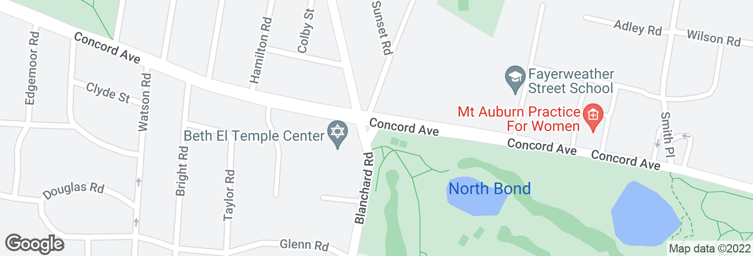 Map of Concord Ave @ Blanchard Rd and surrounding area