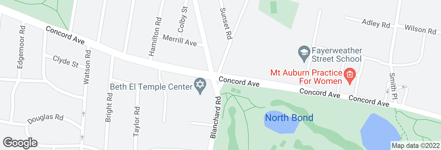 Map of 799 Concord Ave and surrounding area