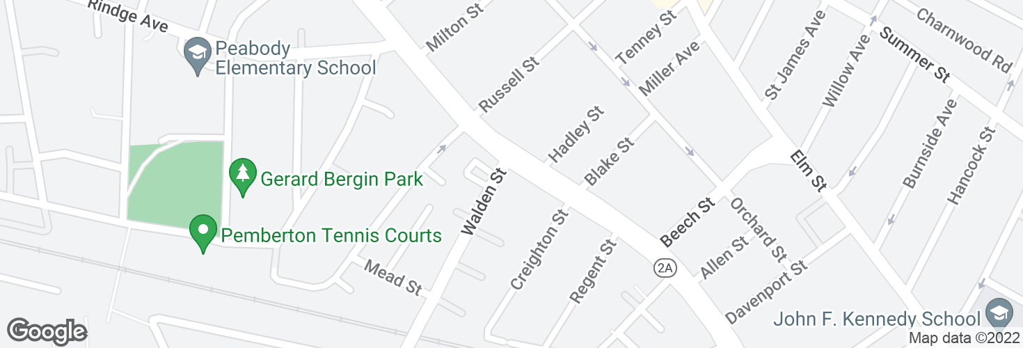 Map of Massachusetts Ave @ Walden St and surrounding area