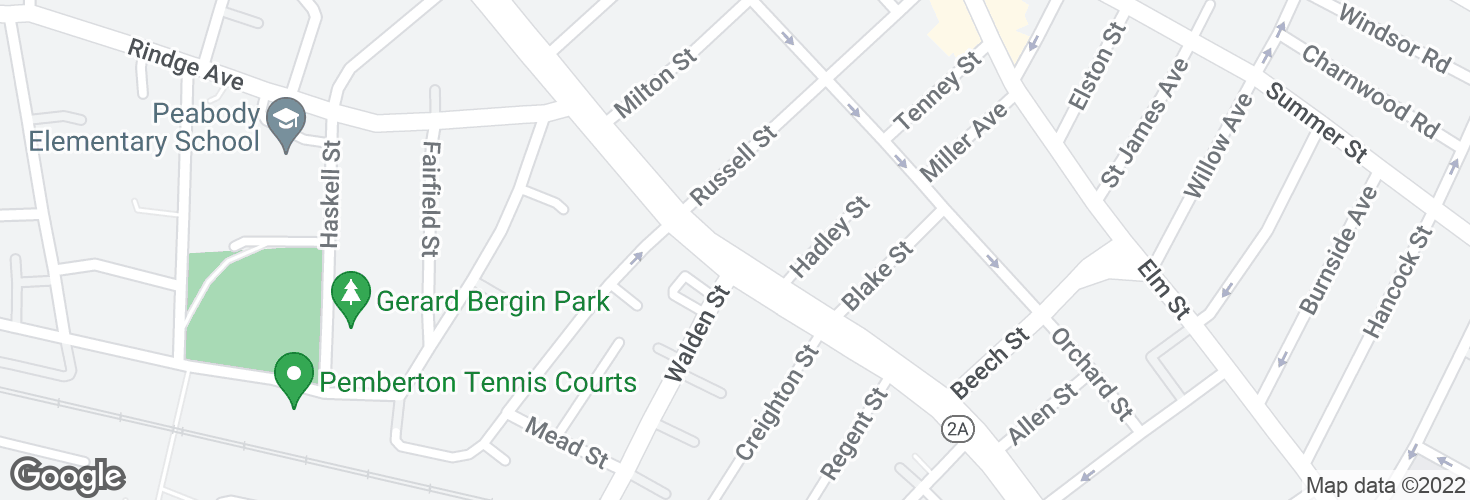 Map of Massachusetts Ave opp Walden St and surrounding area