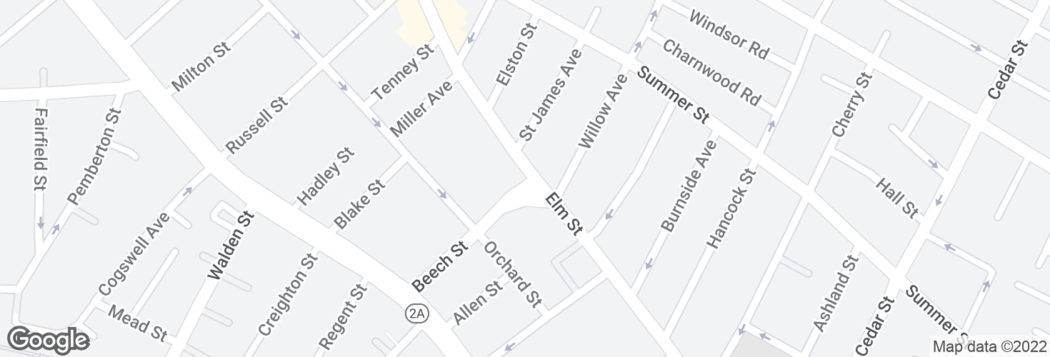 Map of Elm St @ Beech St and surrounding area