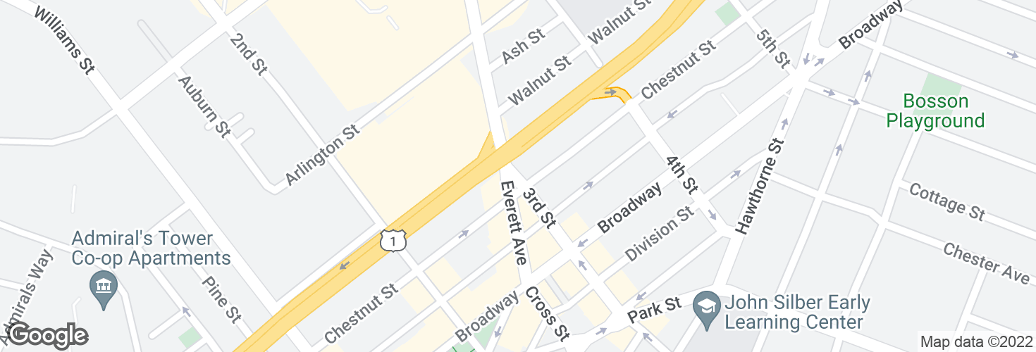 Map of Third St @ Chestnut St and surrounding area