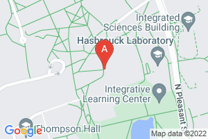 Map of 1 Campus Center Way, Amherst, MA.