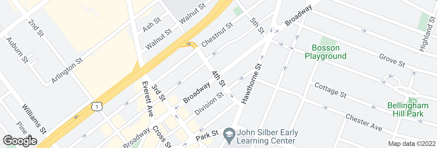 Map of Broadway @ Fourth St and surrounding area