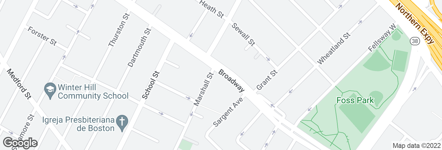 Map of Broadway @ Marshall St and surrounding area